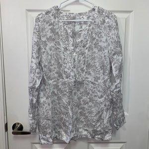 J Jill Grey and White Linen Blouse Size XL